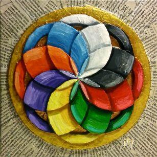 """""""Armonia delle sfere"""", tecnica mista su tela, cm.20x20"""